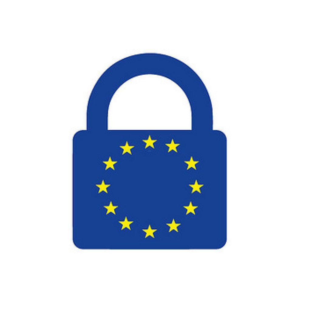 EU symbol on a blue padlock