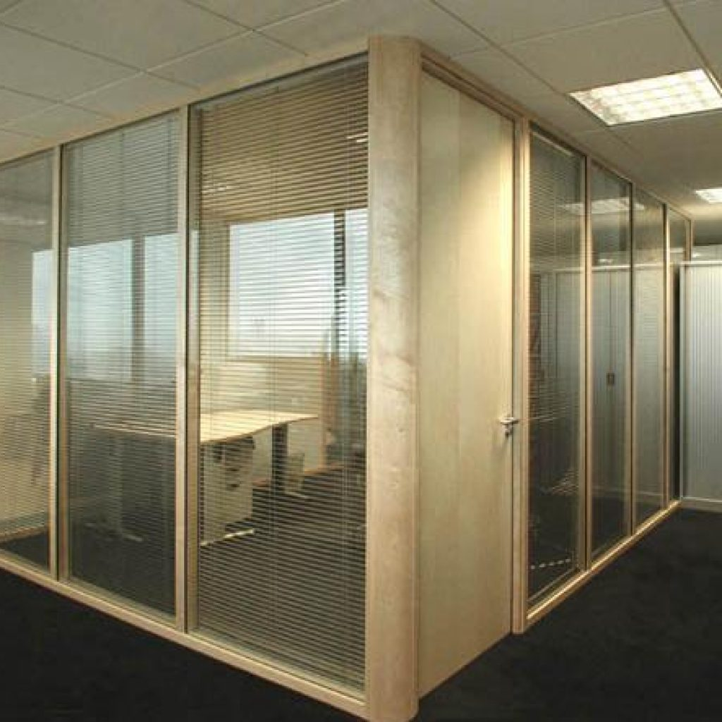 Boxed of office with desk