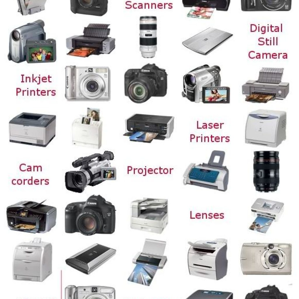 Image with a collection of various Canon technologies such as printers and cameras.