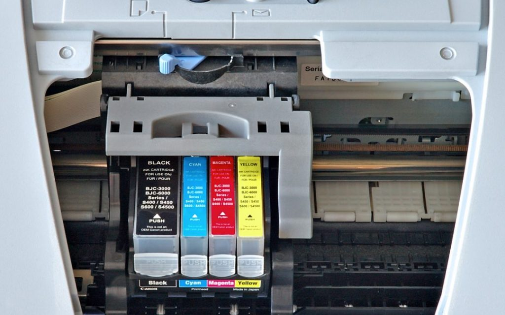 Inside view of a printer and the ink cartridges