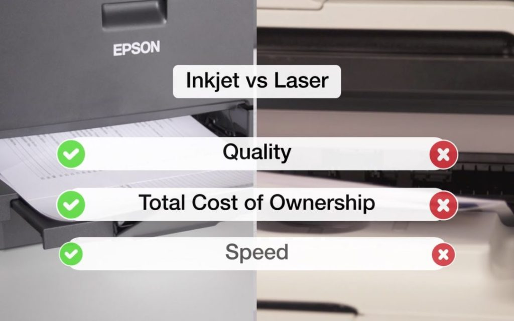 Graphic explaining why inkjet printers are better than laser printers
