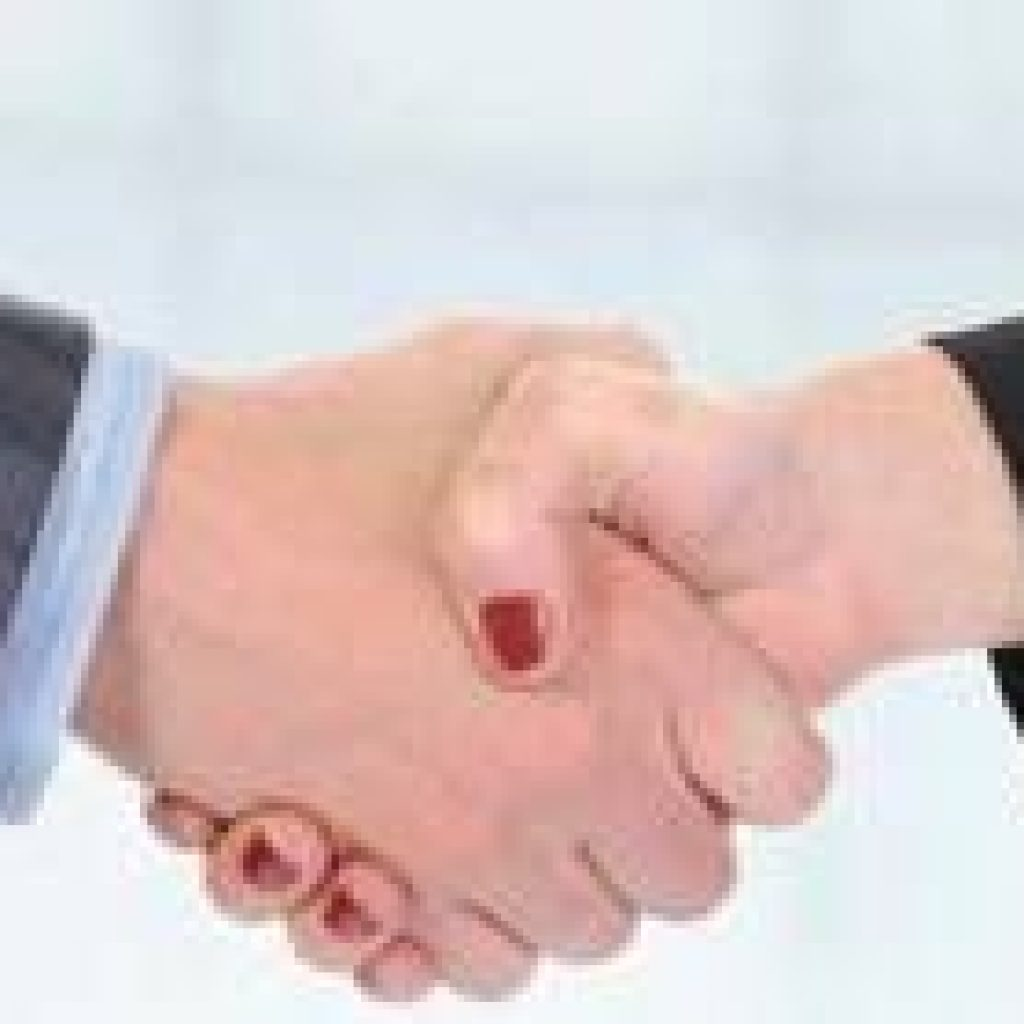 Man and women shaking hands