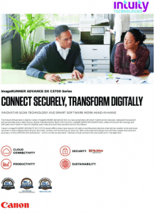 Graphic showcasing the benefits of Canons imageRUNNER advance DX c3700printer series