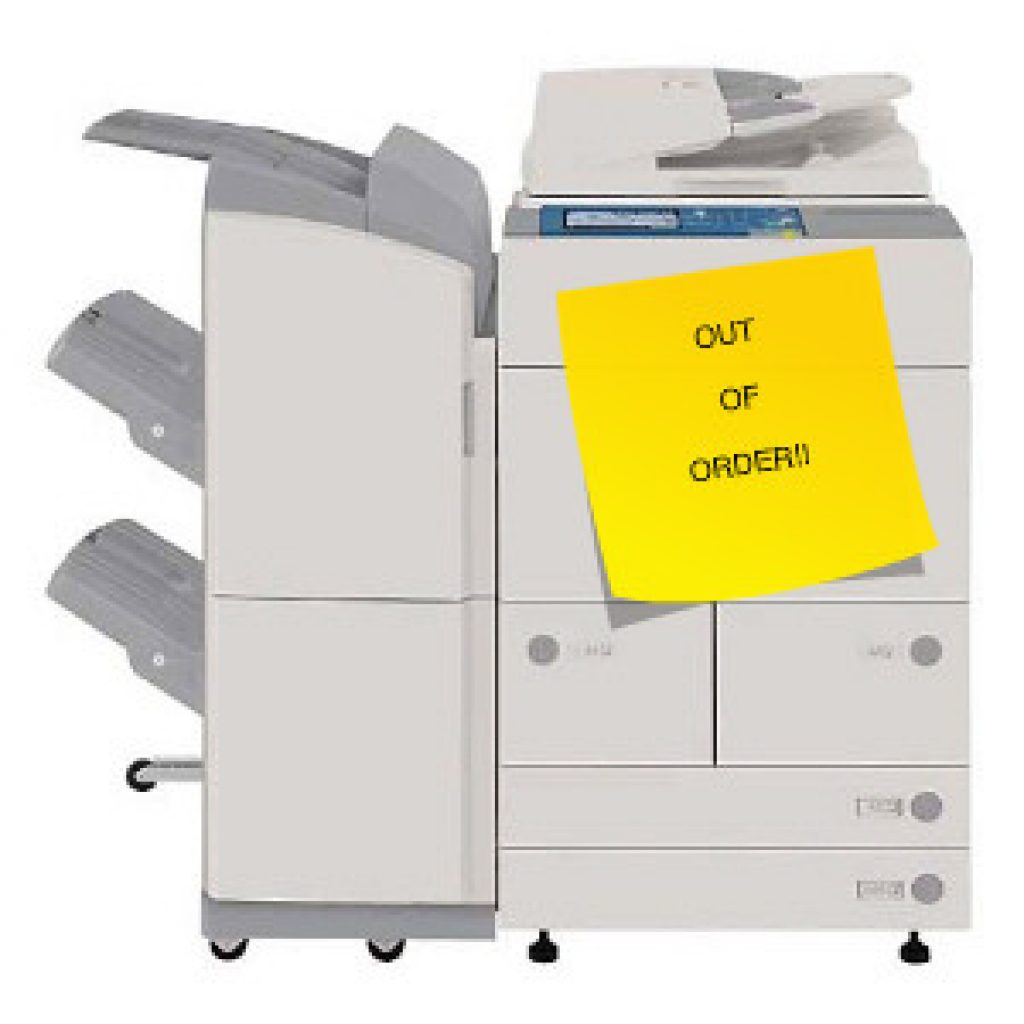 Office printer with out of order sign on it