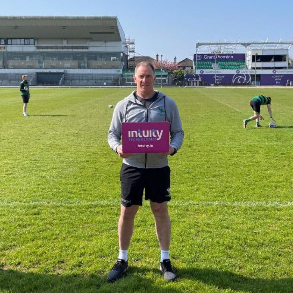 Andy Friend of Connacht Rugby announcing partnership with Intuity.